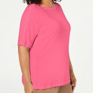 Karen Scott Plus Size Studded Top